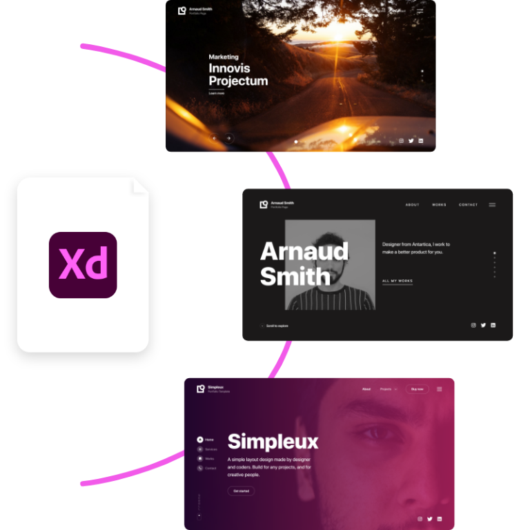 Adobe XD design files included in the package